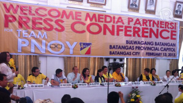 Team PNoy holds a press-conference in Batangas. Natashya Gutierrez.