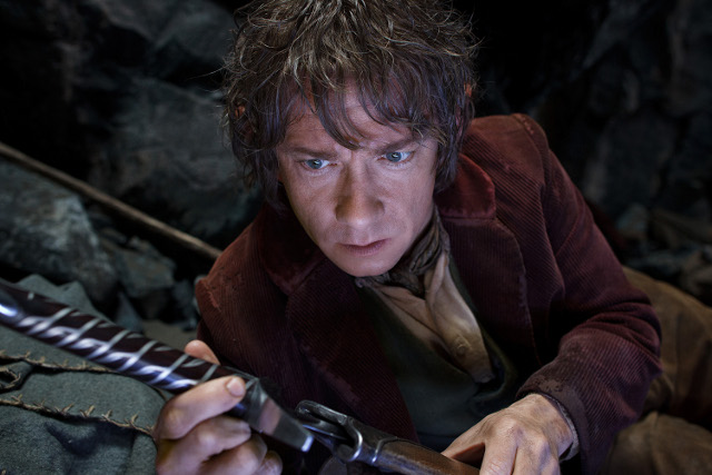 Bilbo (Martin Freeman) prepares to use his sword Sting