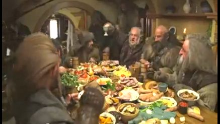 FOOD FIGHT. Where there are dwarves and food, there will be a food fight. Screen grab from YouTube (Tolkiendrim)
