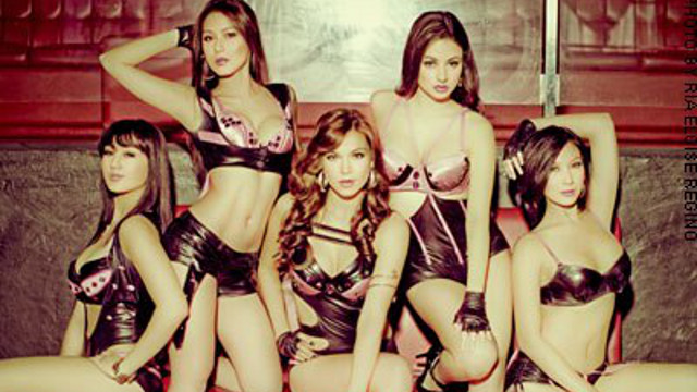 TOO RACY? Bb Pilipinas candidate Theresa Fenger (seated middle) poses in a photograph labeled 'FHM.com.ph.' Photo from the 'Lana Roi Theresa Fenger' Facebook page