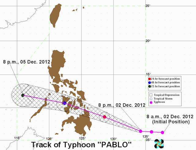 MOVING WEST. Typhoon track as of 8 pm. Image courtesy of PAGASA