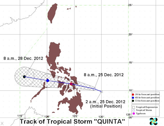 VISAYAS BOUND. Tropical storm track as of 8 am. Graphic courtesy of PAGASA