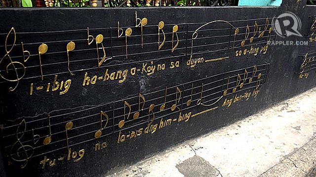 "STREET ART. Part of the lyrics of National Artist Lucio San Pedro and composer Levi Celerio's  composition, ""Sa Ugoy Ng Duyan."" Photos by Claire Madarang"