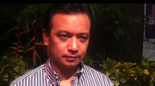 NOT MY PROBLEM. Sen Antonio Trillanes told Rappler in the sidelines of a senatorial forum in University of the Philippines Los Banos, ousting Sen President Juan Ponce Enrile is up to the Liberal Party members. Photo by Natashya Gutierrez.