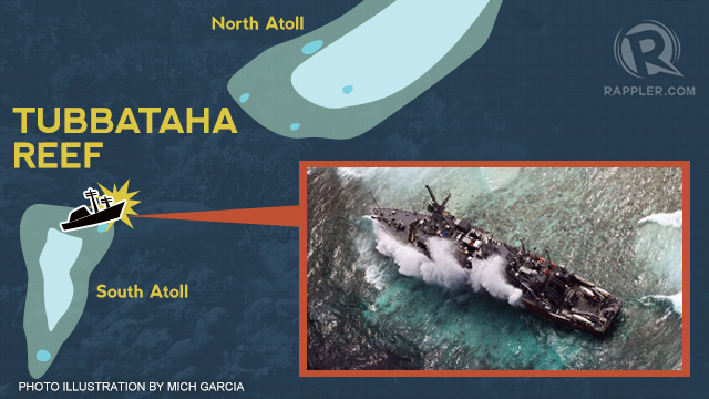 STUCK ON THE REEF. The USS Guardian hit the upper side of Tubbataha's South Atoll on January 17