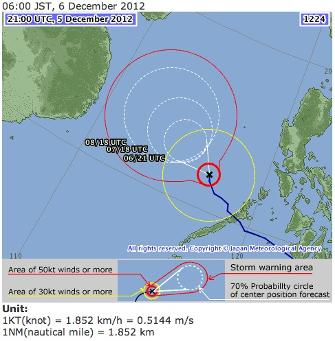 Japan Meteorological Agency forecast track for Bopha as of 8 am December 6, 2012. Image courtesy of the JMA.