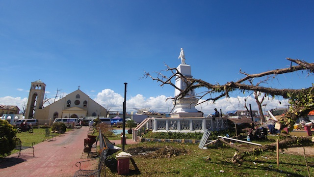 99% DESTROYED. Only this statue of Jose Rizal in the town plaza was left standing in Cateel. Photo by Karlos Manlupig
