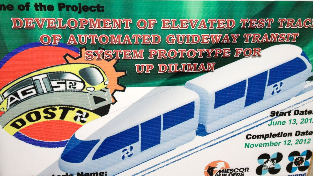 Poster of the Automated Guideway Transit project in UP Diliman