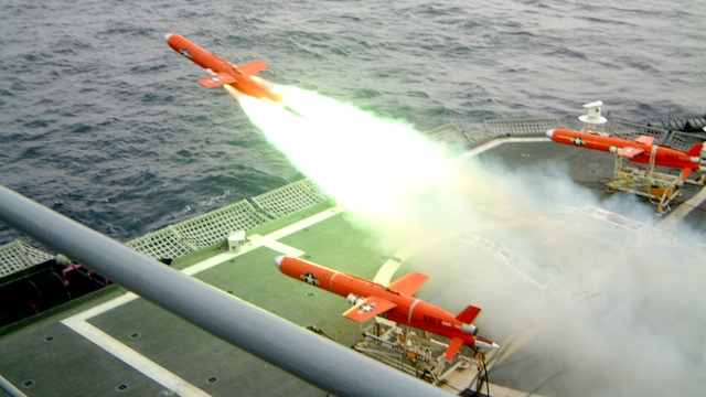 UNMANNED AERIAL VEHICLE. A BQM-74E Chukar III is launched from a US Navy ship in Japan. The drones are painted orange so that they will be easier to see in the water and can be recovered. File photo from Wikimedia Commons