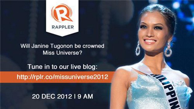 Stay with us as we live blog the Miss Universe 2012 pageant