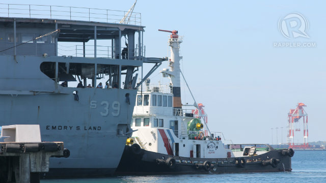 WASTE DUMPING. The US ship involved in a recent waste dumping controversy docks again at Subic. Photo by Randy Datu