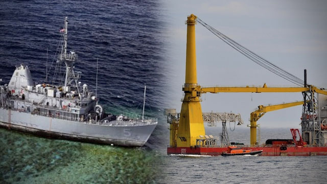 ON SITE. The Jascon 25 crane vessel starts cutting up the USS Guardian into pieces. Graphic by Bardo Wu