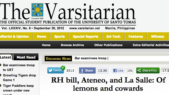 Screenshot of the Varsitarian Opinion-Editorial piece 