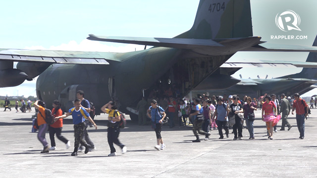 EVACUATION. C130s and other military equipment are valuable not just in times of war but also during calamities when people need to be evacuated and saved. Photo by Rappler