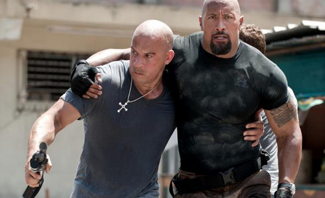 MUSCLED FRIENDS. Vin Diesel is Dominic Toretto and Dwayne Johnson is Luke Hobbs in 'Fast and Furious 6' aka 'F6.' Photo from the 'Fast and Furious 6' Facebook page