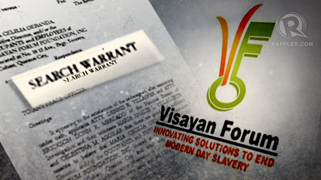 SEARCH WARRANT. A raid on Visayan Forum's Quezon City compound produced up to 35,000 in allegedly falsified documents.