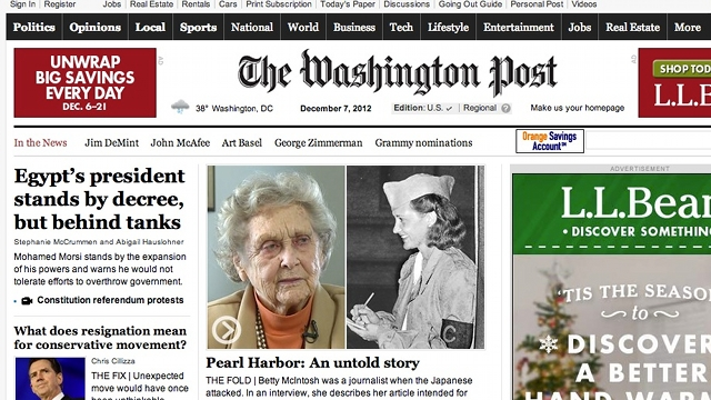 Screenshot of washingtonpost.com