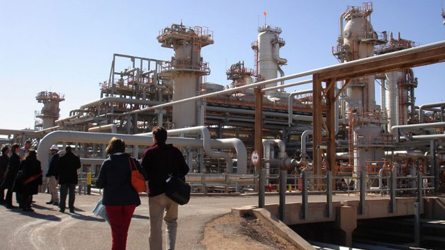 GAS FIELD. A picture taken on December 14, 2008 shows a foreign delegation visiting the Krechba gas treatment plant run by the Sonatrach, BP and Statoil, about 1,200 km (746 miles) south of Algiers. AFP PHOTO / STRINGER