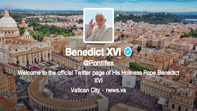 ON SOCIAL MEDIA. Photo from Pope Benedict XVI's official Twitter account