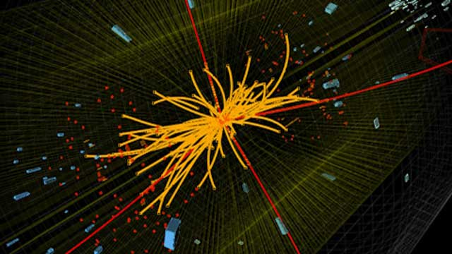 Proton-proton collision in the Compact Muon Solenoid (CMS) experiment producing four high-energy muons (red lines). The event shows characteristics expected from the decay of a Higgs boson but it is also consistent with background Standard Model physics processes. Photo courtesy of CERN/CMS