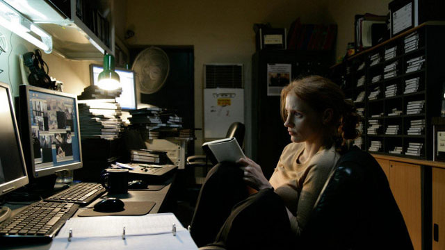 WHERE IS OSAMA BIN LADEN? Jessica Chastain's Maya tries to figure it out. Photo from the 'Zero Dark Thirty' Facebook page