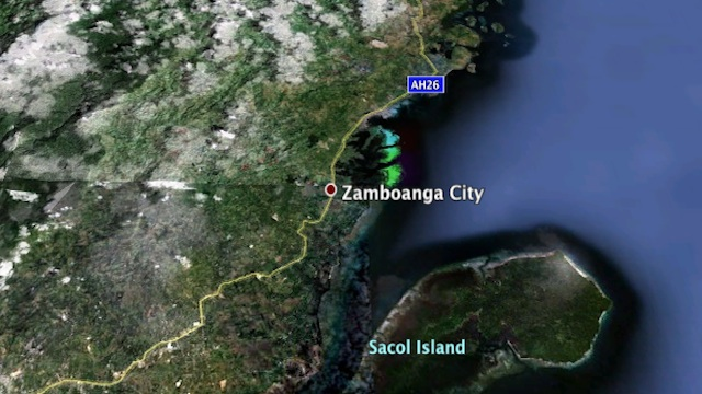 Google Maps aerial image of Zamboanga City and port area