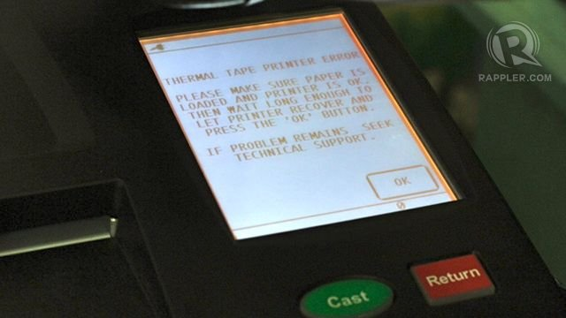 NOT WORKING. A week before the May 13 elections, a number of PCOS machines are still not working properly. RAPPLER/Karlos Manlupig