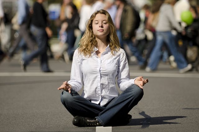 NOISY OUTSIDE, QUIET INSIDE. Meditation helps manage stress and negativity