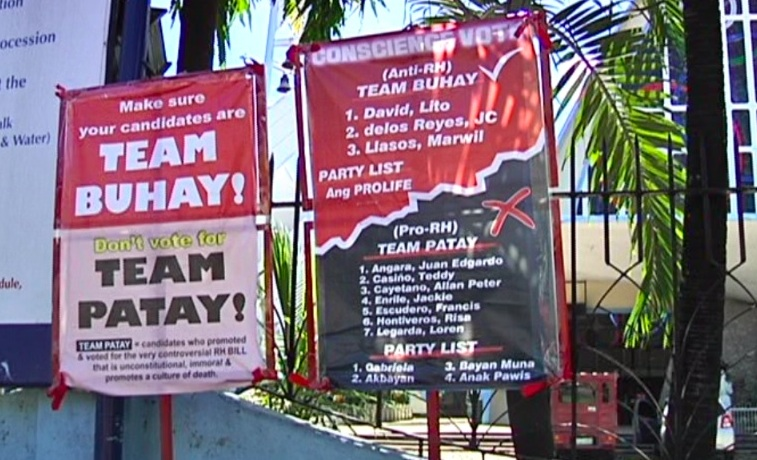 TEAM BUHAY, TOO. The tarpaulins in the Diocese of Cebu endorse another set of anti-RH senatorial candidates. Photo courtesy of News5 Cebu (Aksyon Bisaya)
