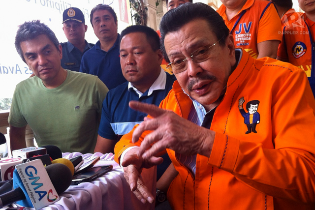 'EASTERADA SUNDAY.' Vice President Jejomar Binay, Senate President Juan Ponce Enrile and UNA's senatorial candidates will all be present to support Estrada's bid for Manila mayor in his Sunday proclamation. File photo by Rappler/Ayee Macaraig
