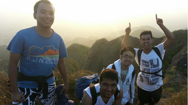 MOUNTAIN CLIMBING. The author (3rd from left) climbs Mt Batulao, Batangas, for the first time with friends. Photo courtesy of Vince Santos