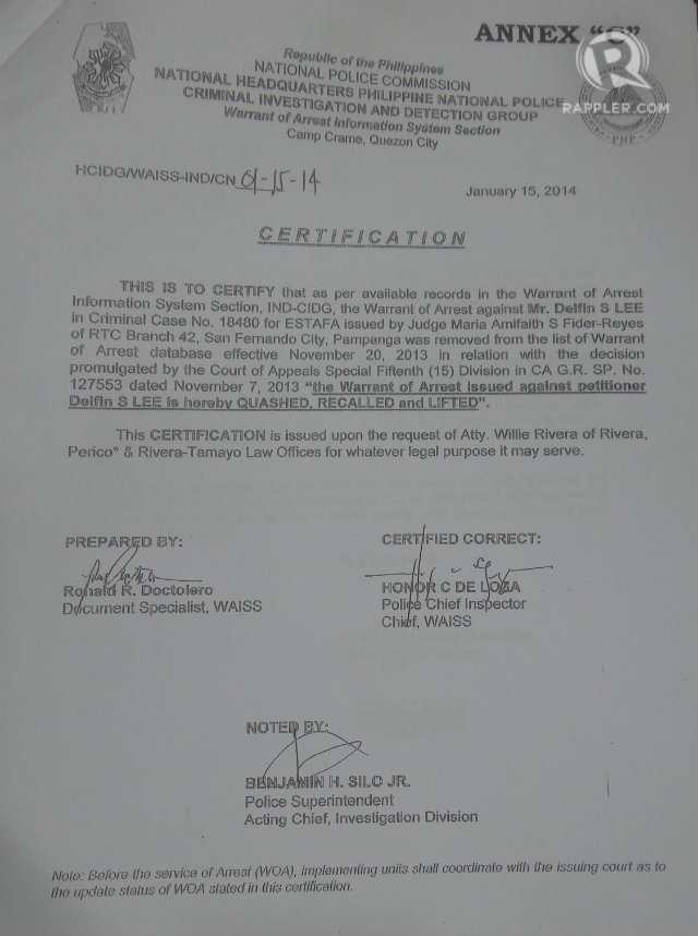 Pnp Delfin Lee And 2 Conflicting Letters