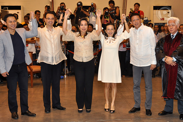 MOVING ON? Sen Alan Peter Cayetano and Sen Loren Legarda dismiss their campaign spat, saying they have moved on. Photo by Arcel Cometa/Rappler