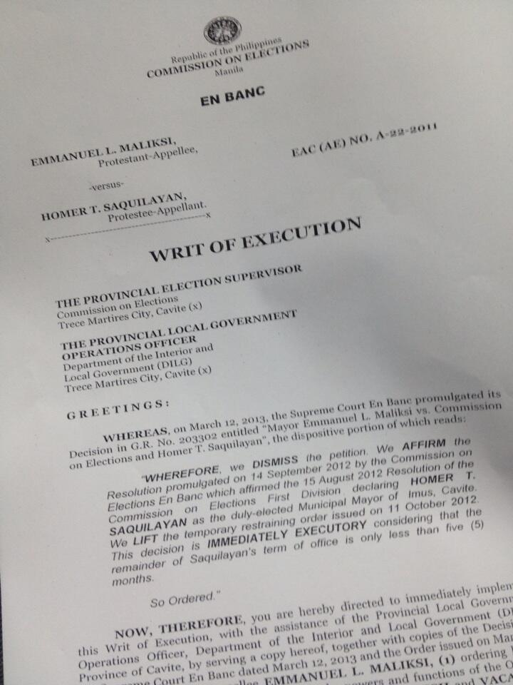 IMPLEMENT ASAP. The writ of execution from Comelec installing Homer Saquilayan of Partido Magdalo and unseating Emmanuel Maliksi of the Liberal Party. Photo from Comelec director James Jimenez's Twitter account