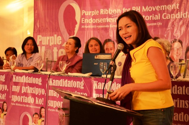 RH LAW. Only Team PNoy senatorial candidate Risa Hontiveros attended the press con in person to welcome Purple Vote's endorsement. Photo by Mark Demayo