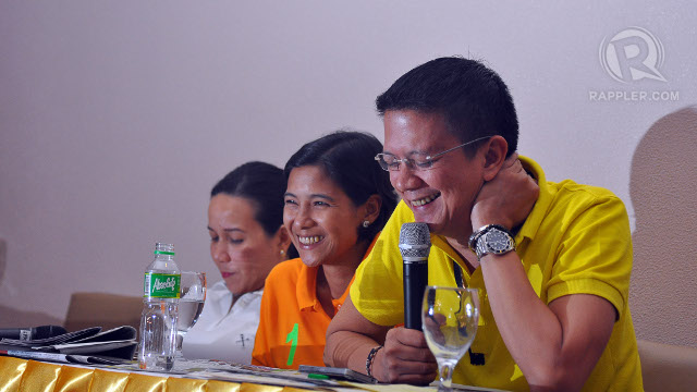 ANTONINO-CUSTODIO. Darlene Antonino-Custodio smiles with Grace Poe and Chiz Escudero in tow. Photo by Cocoy Sexcion