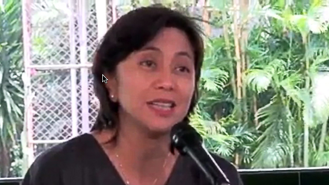 READY TO RUN. Leni Robredo speaks to the media in after her husband's death in this file photo.