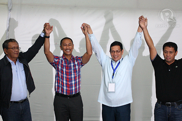 RE-ELECTED. Governor Esmael Mangudadatu (2nd from Left) and Datu Lester Sinsuat (right) were proclaimed governor and vice governor by the provincial board of canvassers of Maguindanao. Photo by Manman Dejeto/Rappler