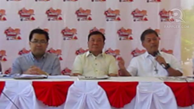 HAPPY WITH PALARO. Palarong Pambansa Secretary General Tonisito Umali, Pangasinan governor Amado Espino and DepEd Secretary Armin Luistro speak to media on day 1 of Palarong Pambansa.