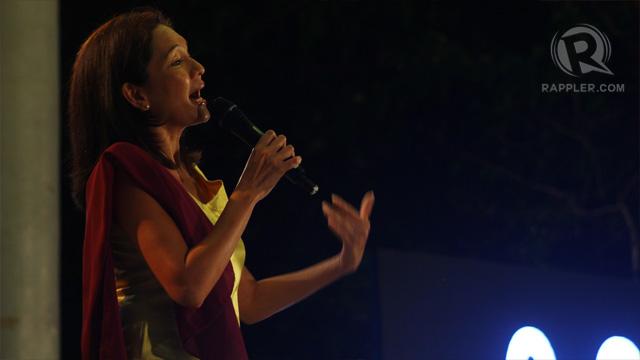 Akbayan stalwart Risa Hontiveros on stage. Photo by Raymund Amonoy