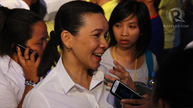 Grace Poe gives interviews after the debates. Photo by Raymund Amonoy