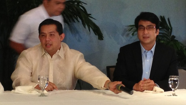 "Leyte Rep Ferdinand Martin Romualdez (L) is the new Lakas-CMD president while Sen. Ramon ""Bong"" Revilla, Jr has been appointed as the new party chairman."