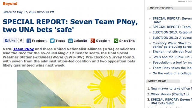 Screenshot of the Businessworld report on the SWS survey