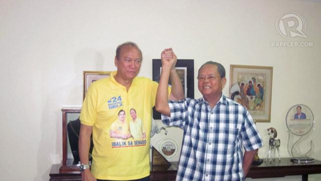 SIGNIFICANT STRENGTH. Bro. Mike Velarde formally endorses Jun Magsaysay Jr. and Bam Aquino. Photo by Rappler/Jodesz Gavilan