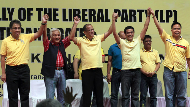 "Liberal Party (LP) chairman President Benigno S. Aquino III , LP president Interior and Local Government Secretary Manuel Roxas II and LP Secretary  General  Joseph Emilio ""Jun"" Abaya proclaim all LP candidates in the Province of Cavite, headed by gubernatorial candidate Cavite 3rd District Representative Erineo ""Ayong"" Maliksi and running mate Ronald Jay Lacson, during the Proclamation of Cavite LP Candidates at the Apostle Arsenio Ferriol Complex, Maranatha Christian Academy, Barangay Malagasang II-D in Imus City, Cavite on Monday (September 24, 2012). Liberal Party was founded on January 19, 1946 by Manuel Roxas, the first President of the Third Philippine Republic. (Photo by: Gil Nartea/ Malacañang Photo Bureau)."