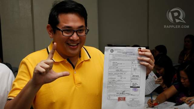 "'BENIGNO BAM.' LP senatorial candidate sticks with the ""Benigno"" brand, choosing to include the name in his ballot nickname. Photo by Don Regachuelo"