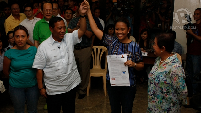 "FATHER'S DAUGHTER. Vice President Jejomar Binay says her daughter will carry the ""Binay brand"" of public service in her senatorial bid. Photo by Don Regachuela"