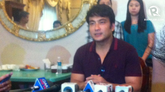 HARASSMENT. Sen Bong Revilla called a press conference on election day and accused Cavite police of harassing his family. Photo by Natashya Gutierrez