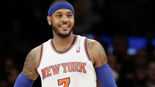 be1800da39d New York Knicks  Carmelo Anthony smiles during the final minutes the Knicks