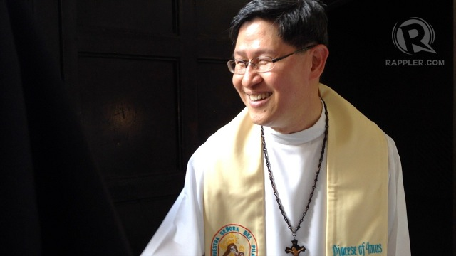 SON OF IMUS. Manila Archbishop Luis Antonio Cardinal Tagle holds a recollection in Cavite in time for the 2013 elections. Photo by Paterno Esmaquel II